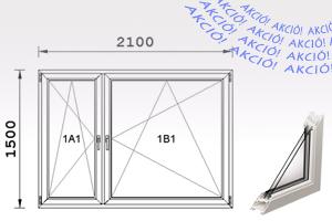 210X150-es bukó-nyíló IGLO 5 Műanyag ablak - Nyílászárók Budapest.
